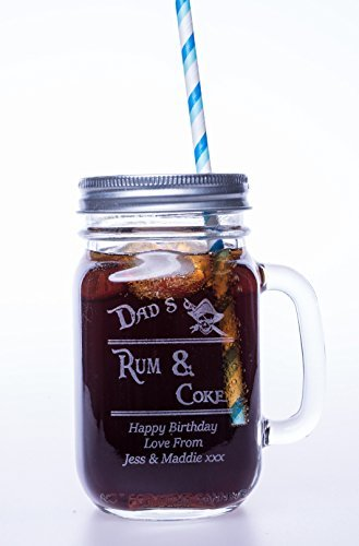 Engraved/Personalised RUM & COKE Mason Drinking Jar Glass Gift for Mothers Day/Valentines Day/Girls/Birthday/Christmas/Dad/Grandad/Nanny/Mum Cr8 A Gift