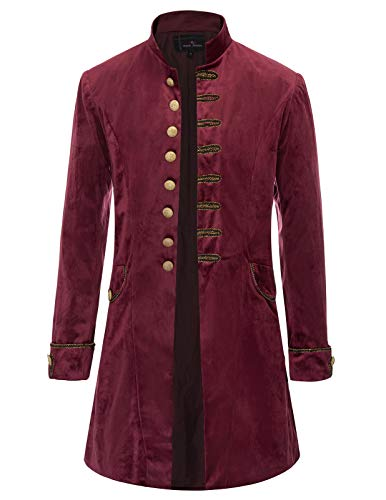Steampunk Jacket Mens (Men's Steampunk Jackets Gothic Victorian Coat Tops Pirate Costume Wine)