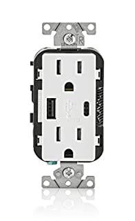 Leviton T5633-W 15-Amp Type-C USB Charger/Tamper Resistant Receptacle, White (B07668S975) | Amazon Products