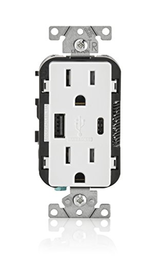 Leviton T5633-W 15-Amp Type-C USB Charger/Tamper Resistant Receptacle, 1-pack, White ()