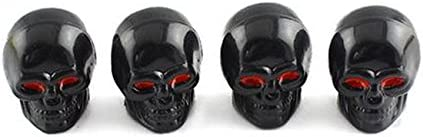 4 x tapones coprivalvola de calavera v/álvula auto car coprivalvole SKULL metal color negro