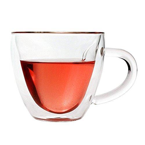 Glass Coffee Mug Heart Shaped Double Wall Insulated Glass Cup 7 Oz Heat-resistant for Tea Cafe Espresso Iced Tea, Dishwasher & Microwave Safe, Set of 1 (Heart-Shape) (Heart Double Floating)