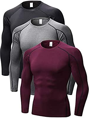 3 Pack Mens Performance Long Sleeve Compression Shirts Cool Dry Wicking Baselayer