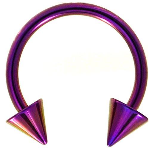 16G(1.2mm) Purple Titanium IP Steel Circular Barbells Horseshoe Rings w/Spike Ends (Sold in Pairs) (16 Gauge 3/8