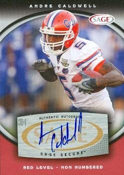 Autograph Warehouse 99779 Andre Caldwell Autographed Football Card Florida 2008 Sage Rookie Red No. A9 ()