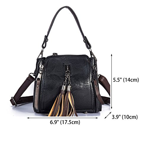 Handle Shoulder Leather Body Bags Women's Bags Cross Top Black Bags Handbags Faux zFqwHf