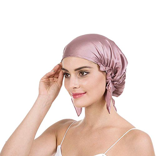 Savena 100% Mulberry Silk Night Sleeping Cap X-Large Size for Thick and Long Hair Bonnet Hat Smooth Soft Many Colors, Hair Care Ebook Included (Silk Cameo)