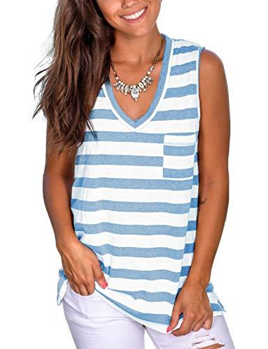 NSQTBA Womens Basic V Neck T Shirts Striped Summer Tank Tops with Pocket S-2XL