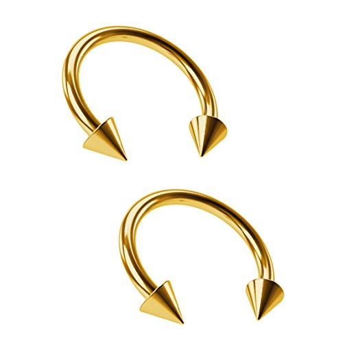 Bling Unique 2pcs 16g Gold Circular Barbell Horseshoe Earrings Spike Daith Helix Hoop Tragus 10mm 3/8 Piercing Bioplast Circular Barbell