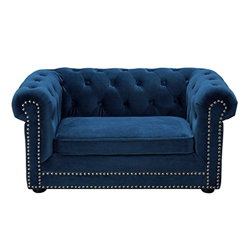 Tov Furniture TOV-P2035-N The Dachshund Collection Handmade Button Tufted Velvet Upholstered Pet Bed, Navy