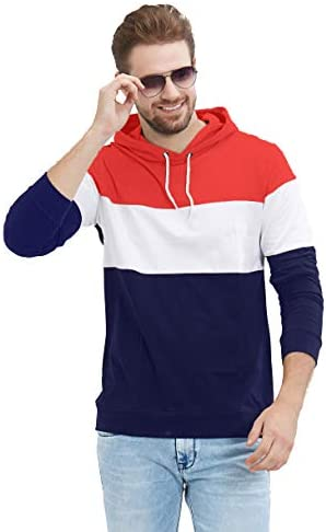 558c258a3a LEWEL Men's Stylish Full Sleeve Red, White, Navy Hooded T-Shirt (100 ...