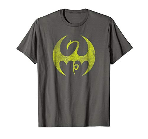 Distressed Dragon - Mens Marvel Iron Fist Distressed Dragon Logo Graphic T-Shirt 3XL Asphalt