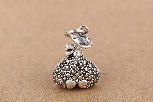 Luoyi 1pc Marcasite Bag Pendant, Thai Sterling Silver Jewelry Findings (C165Y) - Marcasite Bag