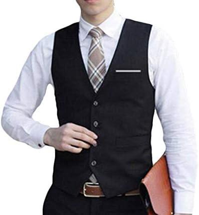 JYZJ Mens Single Breasted Solid Color V-Neck Formal Dress Suit Vest Waistcoat