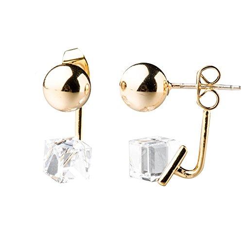 S.Leaf Cube Crystal Dangle Earrings Ear Jacket Gold Tone Ball Ear Studs Front Back Earrings (white)