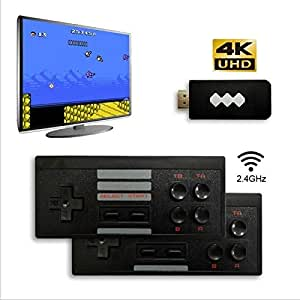 Hardli Video Game Console for a 4K TV, Built in 568 Classic Games,Mini Retro Console Wireless Controller,Output Dual Players