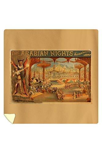 The Arabian Nights - Aladdin's Wonderful Lamp - Vintage Poster (88x88 Queen Microfiber Duvet Cover) by Lantern Press