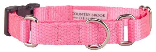 Country Brook DesignTM Heavyduty Nylon Martingale with Deluxe Buckle-Pink-Large