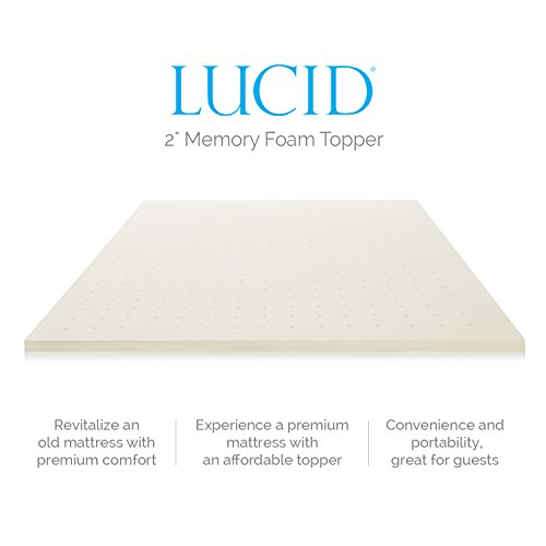 "LUCID 2"" Ventilated Memory Foam Mattress Topper, Full"