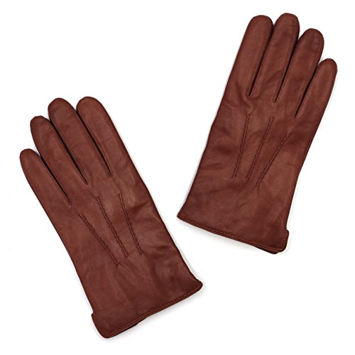 Mens Luxury Nappa Lambskin Leather Gloves(100% Wool Lining),Cognac,X-Large