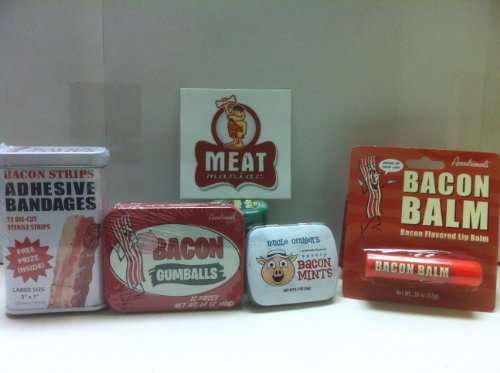 MEAT MANIAC MEGA Bacon Lovers Sampler Gift Pack with Sticker- Bacon Bandaids, Bacon Lip Balm, Bacon Mints & Bacon - Flavored Gumballs