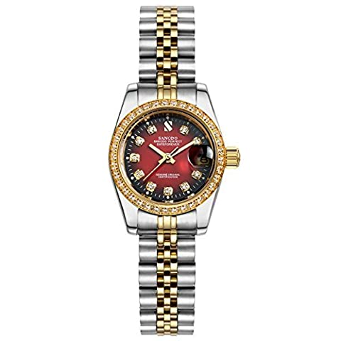 Topwatch® Sangdo Women's Diamond-Accented Bezel Red Dial two-tone steel band l Automatic Mechanical (Sangdo Automatic Watches)