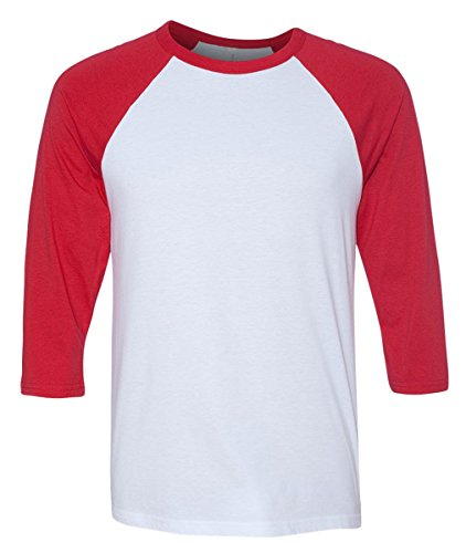 White Baseball T-shirt (Bella 3200 Unisex 3 By 4 Sleeve Baseball Tee - White & Red, Medium)