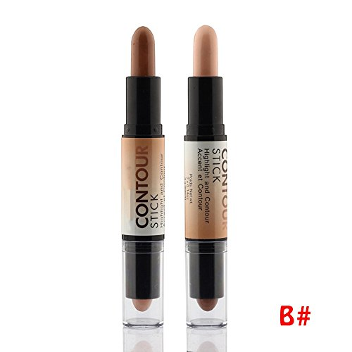 Tmalltide Makeup Creamy Double-ended 2 in1 Contour Stick Contouring Highlighter Bronzer Create 3D Face Concealer Full Cover Blemish (B)