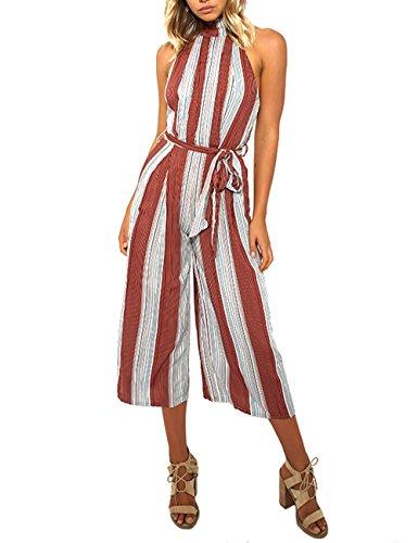 Velius Women Jumpsuit Sexy Sleeveless Halter High Waist Stripe Backless Wide Leg Pants Romper (Medium)