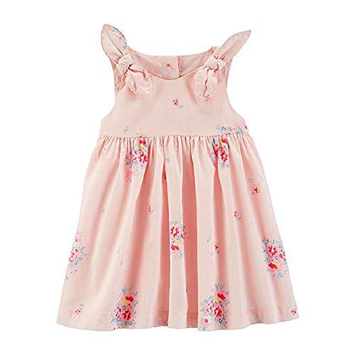 OshKosh Baby Girls Sleeveless A-Line Floral Poplin Dress Size 12m Pink