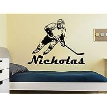 Wall Decal Boy Name Hockey Sportsman Sport Sticker Personalized Name Nursery Baby Kids Custom Name Vinyl Sticker Decals Home Decor Art Bedroom Design Interior C509