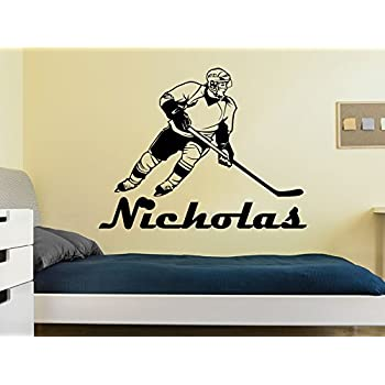 Amazon.com: Hockey player silhouette w/name- custom boys vinyl wall ...