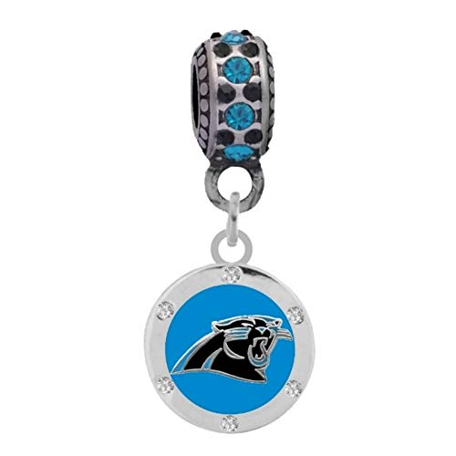 Final Touch Gifts Carolina Panthers Crystal Charm Fits Most Bracelet Lines Including Pandora, Chamilia, Troll, Biagi, Zable, Kera, Personality, Reflections, Silverado and More … (Charm Bead Silverado)