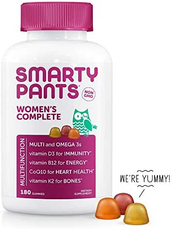 SmartyPants Women's Complete Gummy Vitamins, Gluten Free, Multivitamin, CoQ10, Folate (Methylfolate), Vitamin K2, Vitamin D3, Biotin, Methyl B12, Omega 3 DHA/EPA Fish Oil, 30 Day Supply, 180 Count