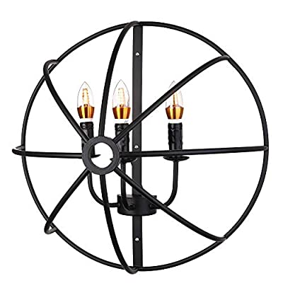 BAYCHEER HL371461 Industrial Retro Vintage style Wrought Iron semicircle Cage Wall Sconce wall light lamp for Warehouse use E26/27 Bulb 3 light
