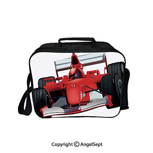 - Travel Picnic Lunch Box Wide Open Lunch,Formula Race Car with the Driver Automobile Motorized Sports Theme Strong Engine Decorative Red Black White 8.3inch,Lunch Bags For Unisex Adults