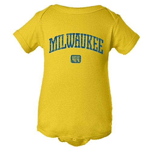 Price comparison product image PleaseMeTees Baby Milwaukee Vintage Distressed Original Home HQ Jumper-Yel-24M