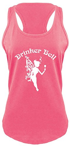 Ladies Racerback Tank Drinker Bell Cute Funny Party Alcohol Lover Fairy Shirt Hot Pink with White Print ()