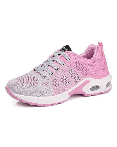 La Mujeres Rosado Zapatos Aire de Transpirable con Gris Cordones Colorido Adolescentes de Malla Aire Viajes Amortiguador Universidad de Superior Running Zapatos Libre Al rBwrqUFn