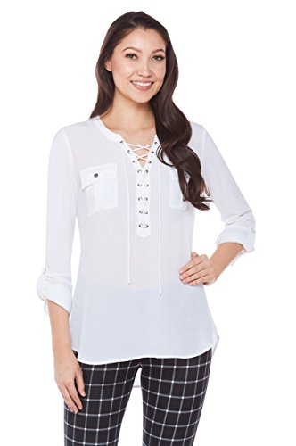 NYGÅRD SLIMS Petite Lace-Up Blouse with Chest Pockets White PM