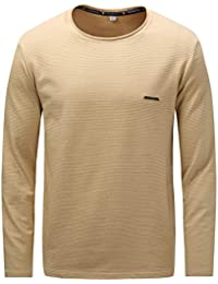 Men's Long Sleeve Cotton Winter T-Shirts Stripe Casual Thicken Shirts for Autumn