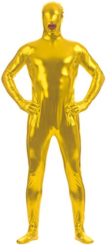 Marvoll Unisex Shiny Metallic Mouth Hole FullBody Zentai Suit for Kids and Adults (Kids Large, (Superman Leotard)