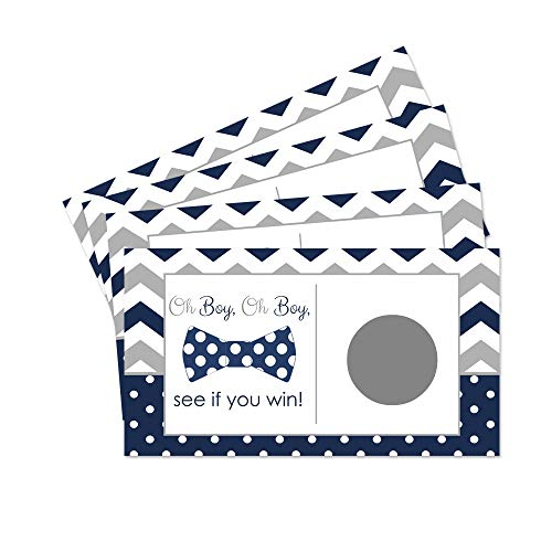 Navy and Grey Bow Tie Scratch Off Game for Boys Baby Shower Set of 28 Cards ()
