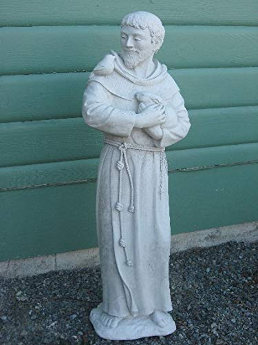 SAINT St. FRANCIS of ASSISI Statue PATRON of ANIMALS Catholic Religion ANTIQUE GRAY Natural Stone Finish OUTDOOR Indoor GARDEN Statuary CAST CEMENT Made in the USA