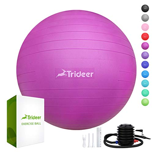 Trideer Exercise Ball (45-85cm) Extra Thick Yoga Ball Chair, Anti-Burst Heavy Duty Stability Ball Supports 2200lbs, Birthing Ball with Quick Pump (Office & Home & Gym)]()