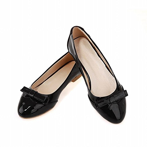 Carol Shoes Women's Charm Fashion Bows Slip On Loafer Flat Shoes Black svnnI1