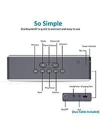 Altavoz Bluetooth Loud, ZealSound Altavoces Bluetooth Inalámbricos con Controladores Duales Metal Touch 20w Loud Estéreo, Mejor Bass, NFC, Luces Traseras con Sensor Térmico, w   Subwoofer para Teléfono Fiesta en Casa TV