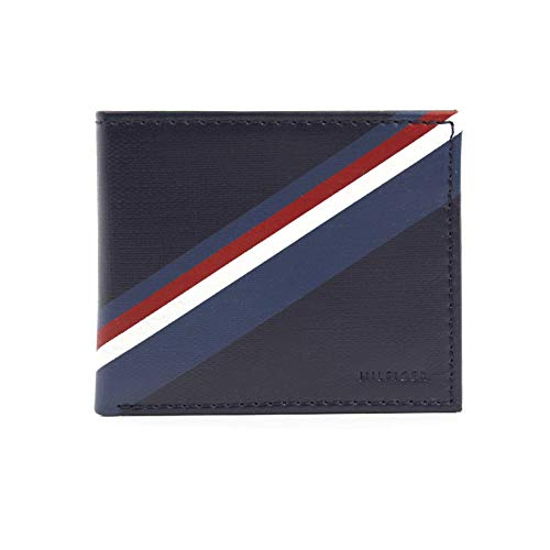 New Tommy Hilfiger Men's Leather Double Billfold Passcase Wallet & Valet/Navy ()