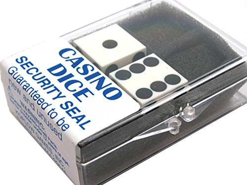 White Opaque D6 Precision Casino Dice with Black Pips 19mm (3/4in) Pack of 2 Koplow Games ()