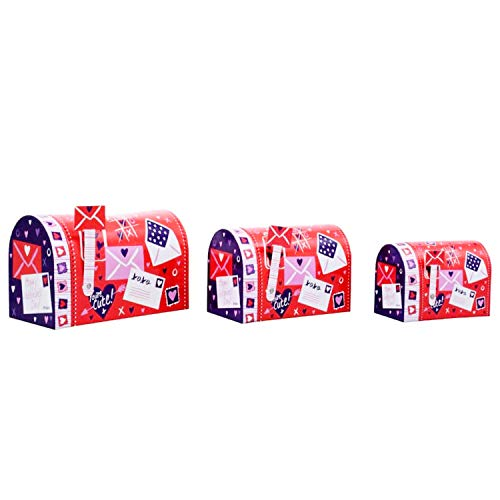 Valentine Gift Boxes with Lids Set of 3 Nesting Small Mailbox-Shaped Unique Party Favors Red Box for Anniversary Birthday Presents for Gift Giving Empty Candy Treat Swap Containers Snack Exchange ()